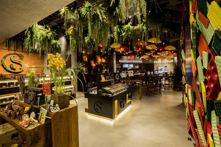 Loja de chocolates com plantas no teto, decorações coloridas e diferentes tipos de chocolate
