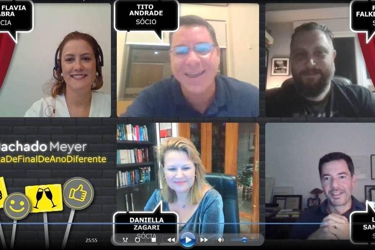 Sócios do Machado Meyer Advogados durante festa virtual de fim de ano.