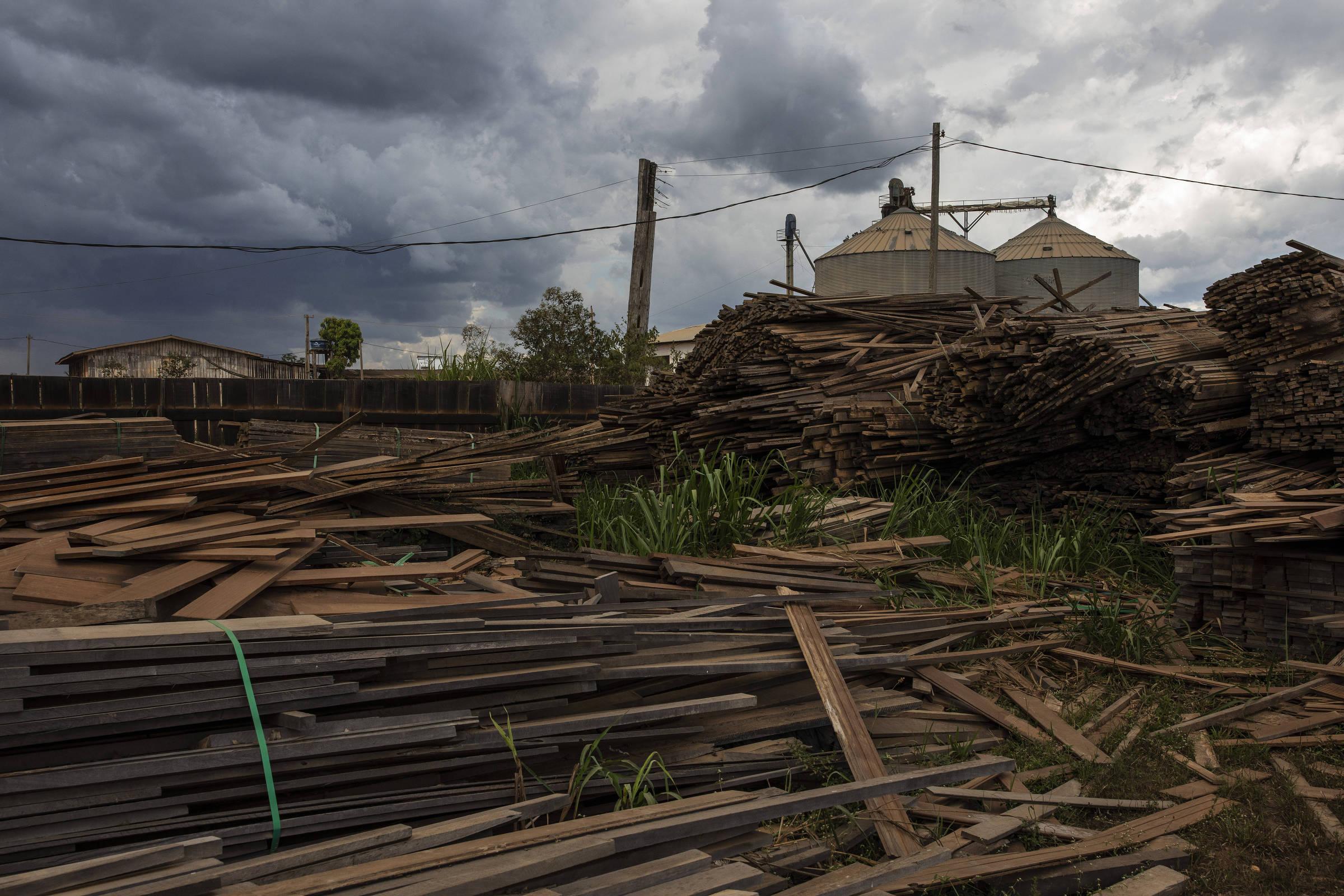 Madeira ilegal apreendida e armazenada em um depósito da Prefeitura de Uruará