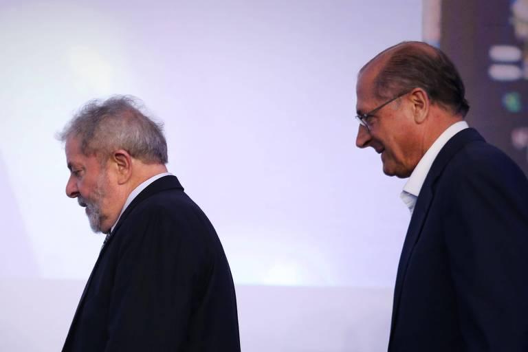 O ex-presidente Lula e o então governador de São Paulo Geraldo Alckmin, em Palmital (SP), em 2014