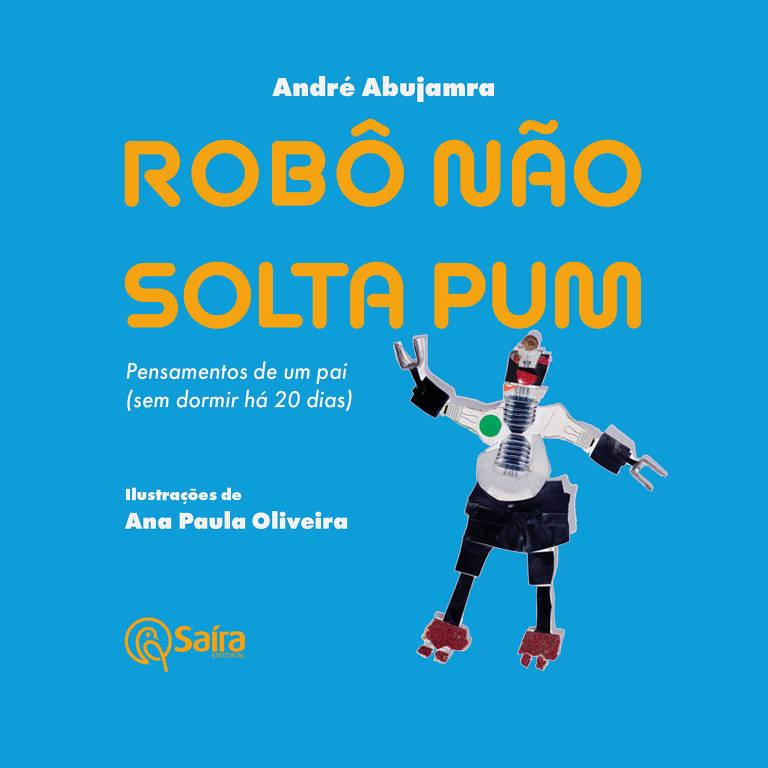 Livro no formato quadrado com capa azul e um robozinho acenando