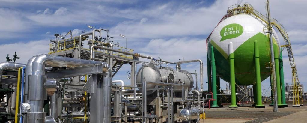 Produção de I´m greenTM bio-based, feito da canade-açúcar, em unidade da Braskem no Rio Grande do Sul