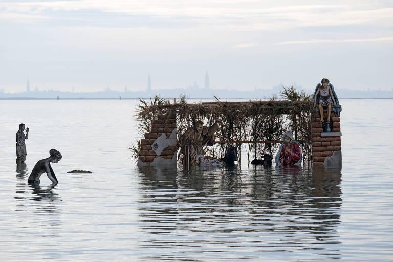 Presépio nas águas de Veneza, na Itália
