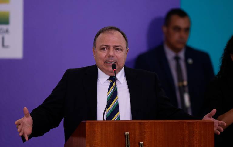 O ministro Eduardo Pazuello no lançamento do plano de vacinação nesta quarta-feira (16) em Brasília