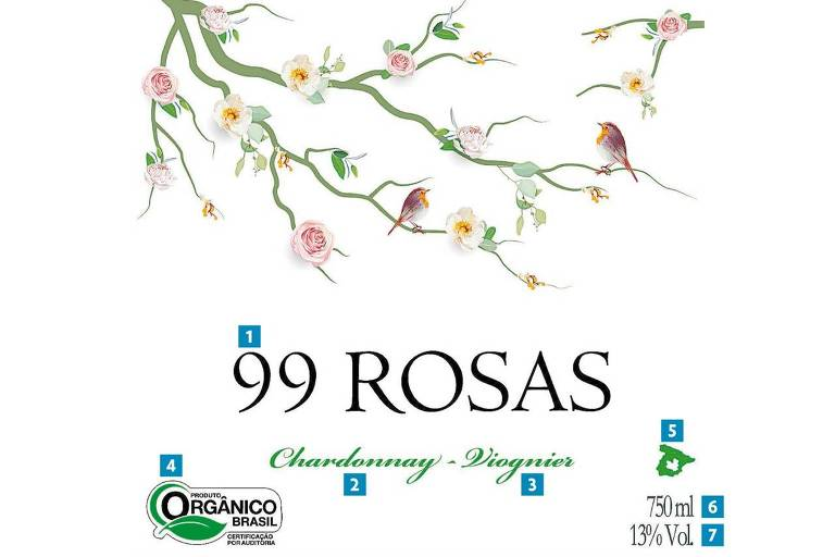 Rótulo do vinho 99 Rosas, da Domínio de Punctum
