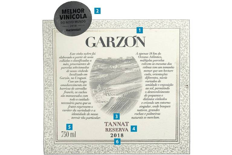 Rótulo do vinho Garzón Tannat Reserva 2018, da Bodega Garzón