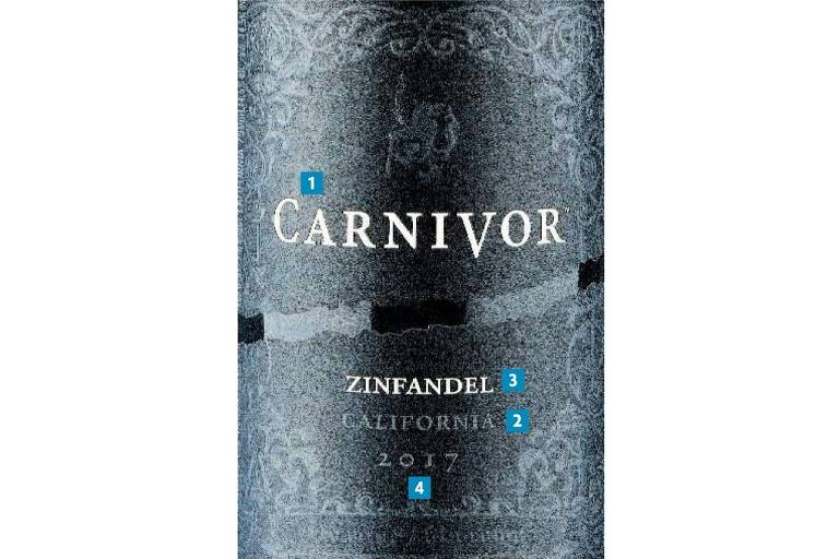 Rótulo do vinho Carnivor Zinfandel 2017