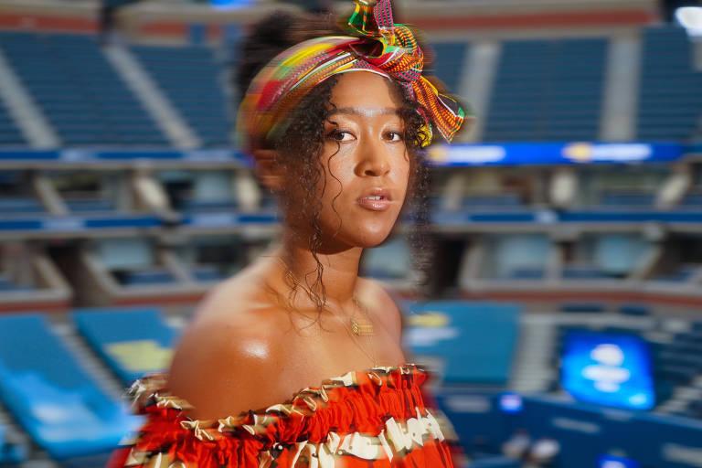 Retrato da tenista Naomi Osaka no estádio Arthur Ashe, em Nova York