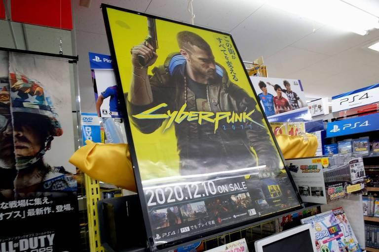 """Cartaz anunciando venda do do jogo """"Cyberpunk 2077"""""""