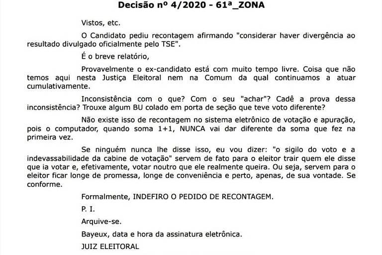 'Se conforme', diz juiz eleitoral a candidato da Paraíba que pediu recontagem de votos