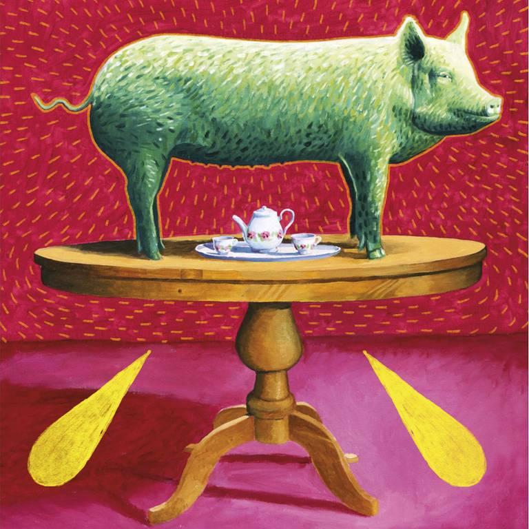 Porco em cima de uma mesa redonda, com fundo vermelho e rosa