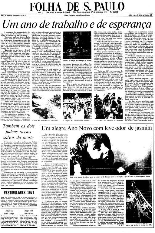 Primeira Página da Folha de 1º de janeiro de 1971