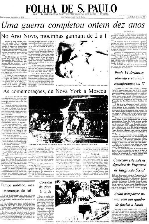 Primeira Página da Folha de 2 de janeiro de 1971