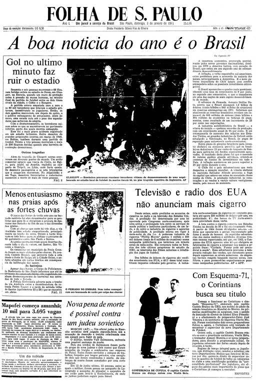 Primeira Página da Folha de 3 de janeiro de 1971