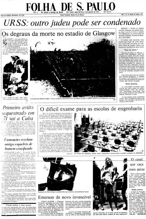 Primeira Página da Folha de 4 de janeiro de 1971