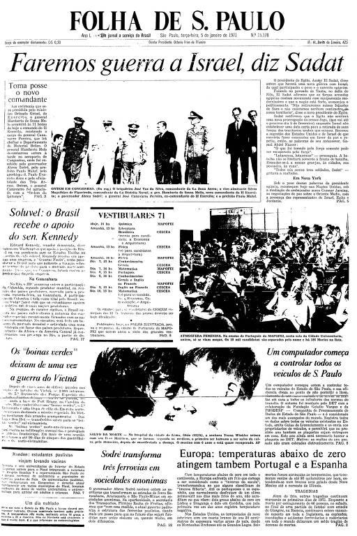 Primeira Página da Folha de 5 de janeiro de 1971