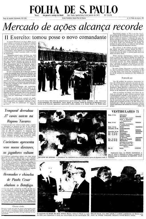 Primeira Página da Folha de 6 de janeiro de 1971