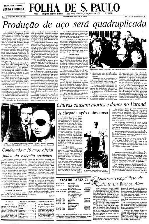 Primeira Página da Folha de 8 de janeiro de 1971