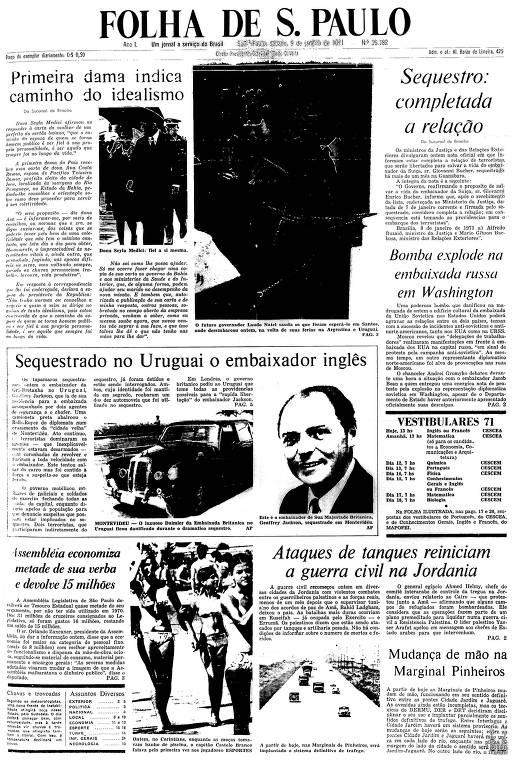 Primeira Página da Folha de 9 de janeiro de 1971