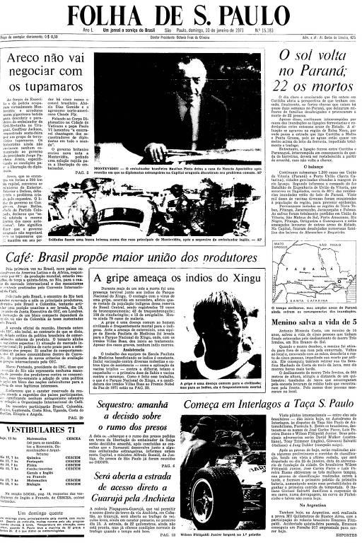 Primeira Página da Folha de 10 de janeiro de 1971
