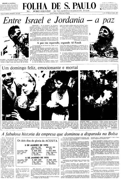 Primeira Página da Folha de 11 de janeiro de 1971