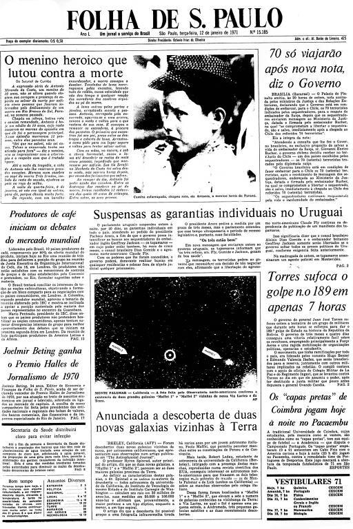 Primeira Página da Folha de 12 de janeiro de 1971