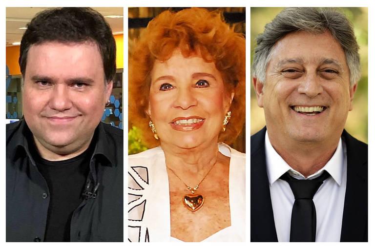 Na imagem, respectivamente, o jornalista Rodrigo Rodrigues, e os atores Daisy Lucidi e Eduardo Galvão.