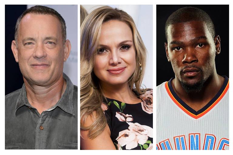 Na imagem, respectivamente, Tom Hanks, Eliana e Kevin Durant.