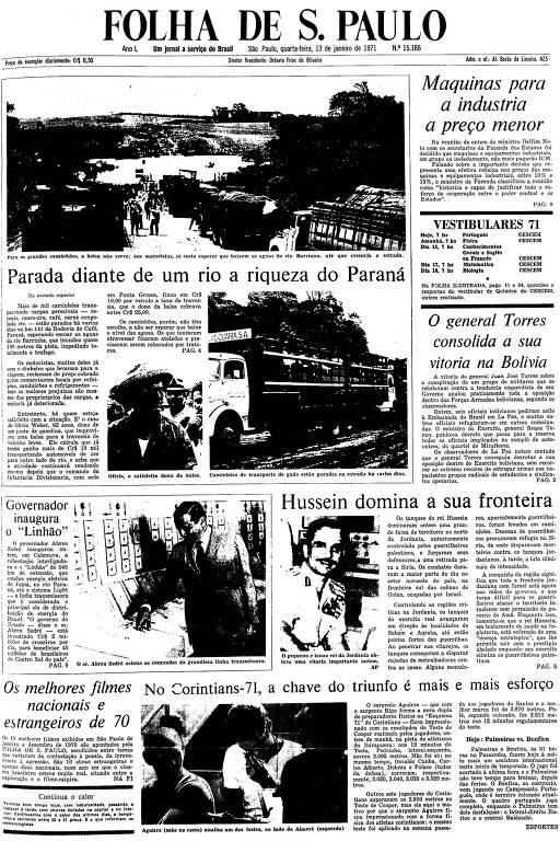 Primeira Página da Folha de 13 de janeiro de 1971
