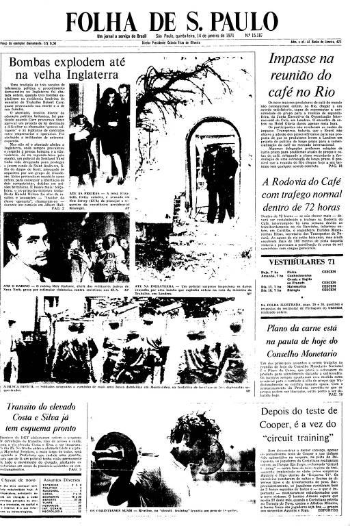 Primeira Página da Folha de 14 de janeiro de 1971