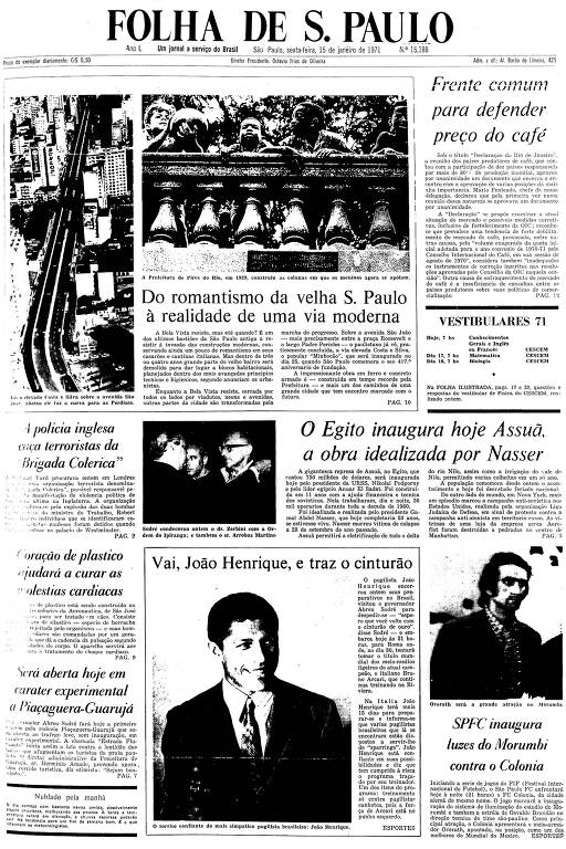 Primeira Página da Folha de 15 de janeiro de 1971