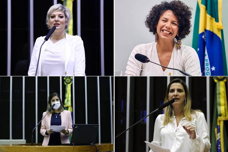 Em sentido horário, as deputadas federais Joice Hasselmann (PSL-SP), Áurea Carolina  (PSOL-MG), Clarissa Garotinho (PROS-RJ) e Tabata Amaral (PDT-SP)