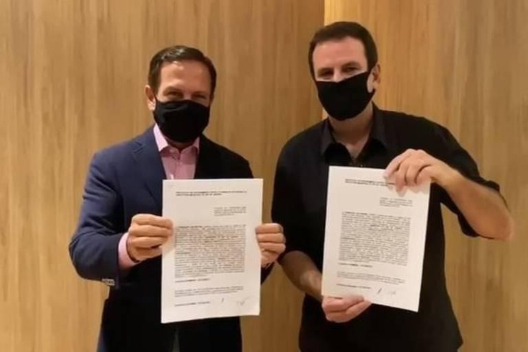 Paes e Doria assinam termo de cooperação para a aquisição da Coronavac