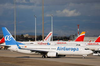 Iberia and Air Europa airplanes are parked at a tarmack at Adolfo Suarez Barajas airport amid the coronavirus disease (COVID-19) pandemic in Madrid
