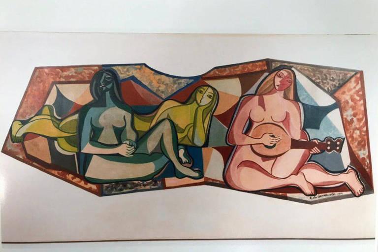 Três mulheres nuas tocando bandolins