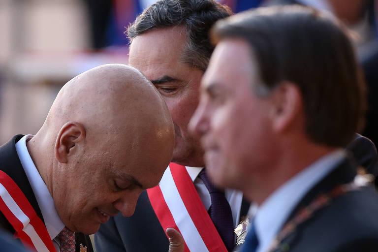 O ministro Alexandre de Moraes (STF) e o presidente Jair Bolsonaro