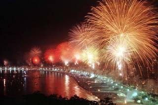 NEW YEARS FIREWORKS EXPLODE ABOVE COPACABANA BEACH