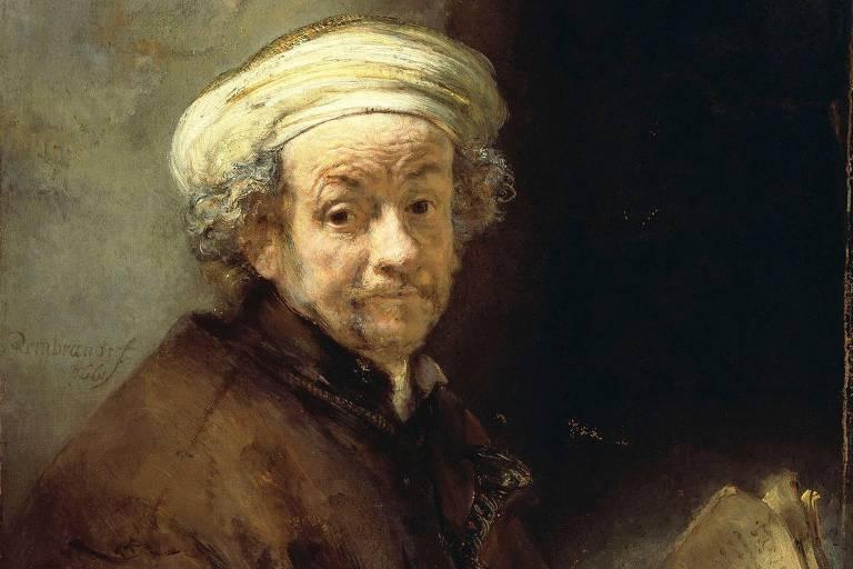 pintura à óleo de retrato de homem idoso, enrugado, com cabelos brancos encaracolados. o quadro é composto por tons de amarelo e marrom