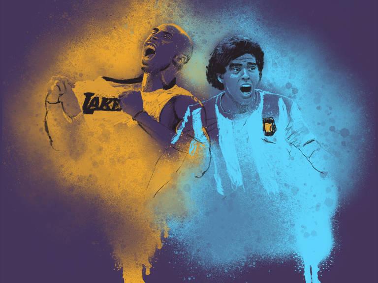 Kobe Byrant desenhado em amarelo e Maradona desenho em azul claro, com expressões vitoriosas, sobre fundo roxo