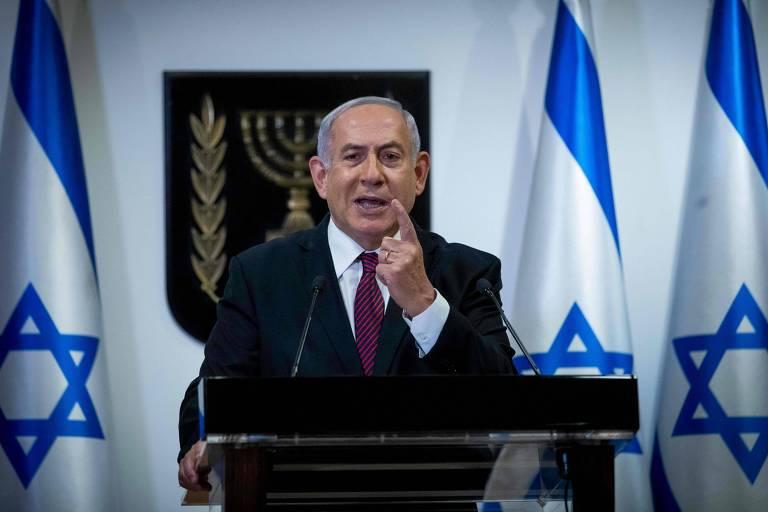 O primeiro-ministro israelense, Binyamin Netanyahu, discursa no Knesset, o parlamento de Israel.