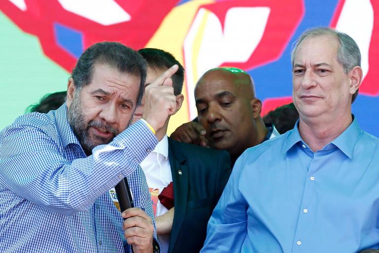 O presidente nacional do PDT, Carlos Lupi, com o então candidato a presidente Ciro Gomes