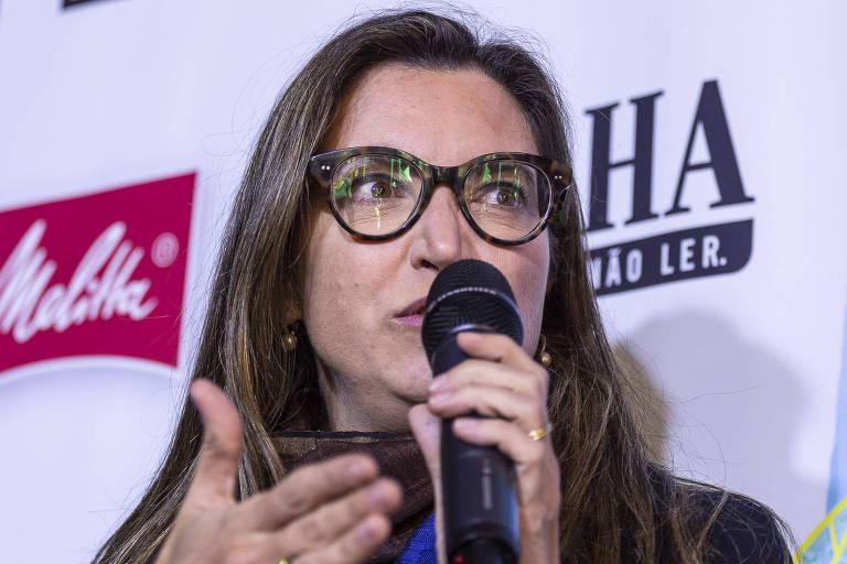 A repórter Patrícia Campos Mello, durante a Flip, em 2019