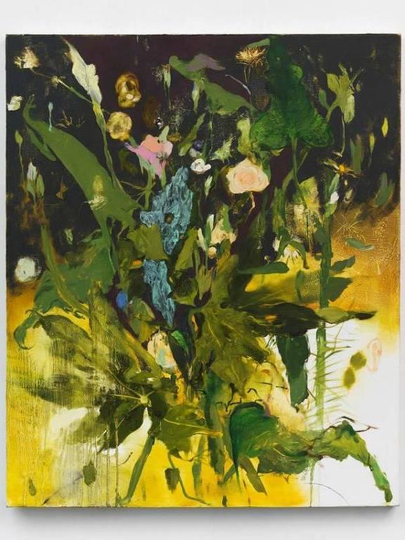 Quadro com pintura de plantas e flores