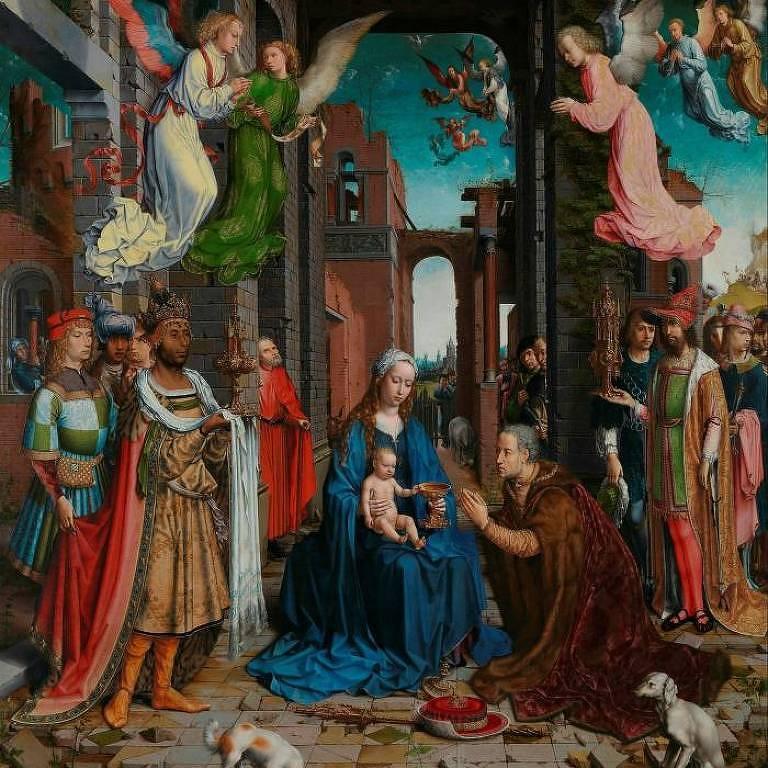 Retrato mostra pintura de várias pessoas ao redor de bebê em colo de mãe