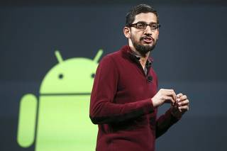 Pinchai speaks during his keynote address at the Google I/O developers conference in San Francisco