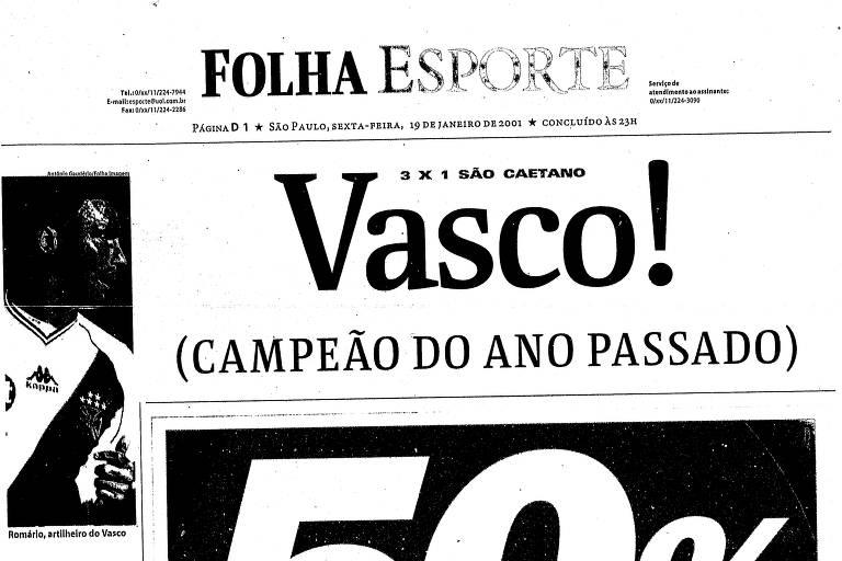 Folha de 19 de janeiro de 2001 retratava o final da Copa João Havelange