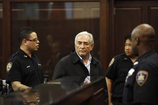 International Monetary Fund (IMF) chief Dominique Strauss-Kahn appears in Manhattan Criminal Court for his arraignment in New York