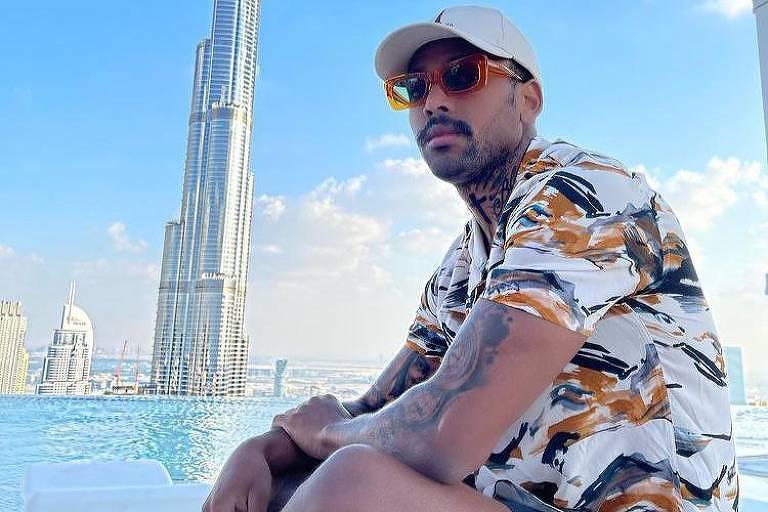 O cantor Nego do Borel em Dubai em foto postada em sua rede social