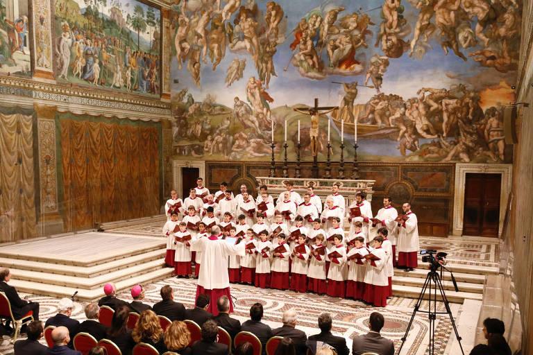 Concerto do coro da Capela Sistina na Biblioteca Apostólica Vaticana