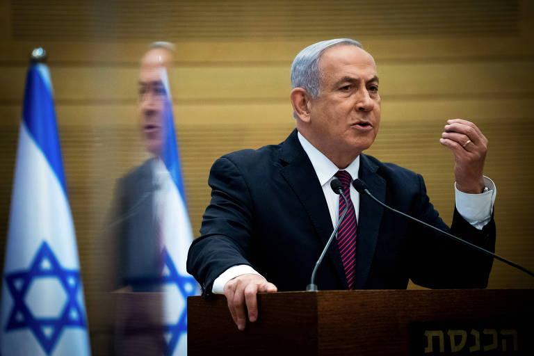 O primeiro-ministro israelense, Binyamin Netanyahu, discursa no Knesset, o Parlamento de Israel